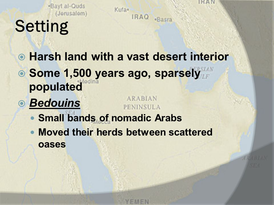 Setting Harsh land with a vast desert interior