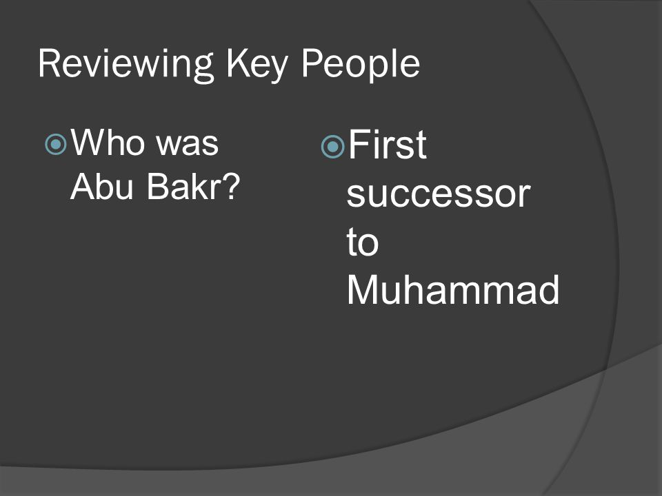 Reviewing Key People Who was Abu Bakr First successor to Muhammad