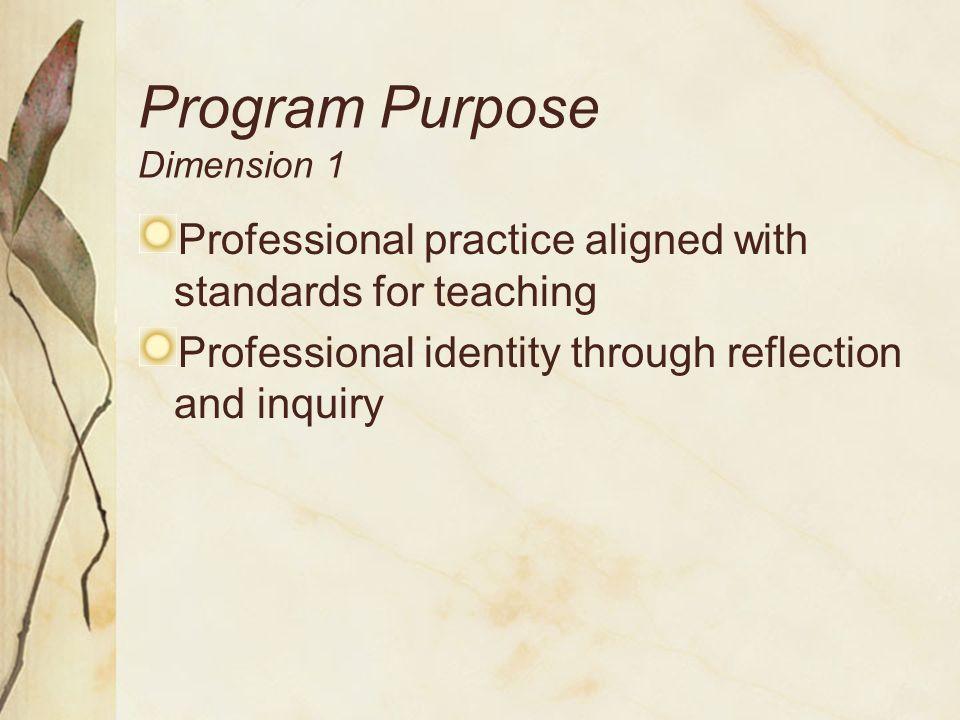 Program Purpose Dimension 1