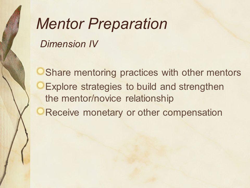 Mentor Preparation Dimension IV
