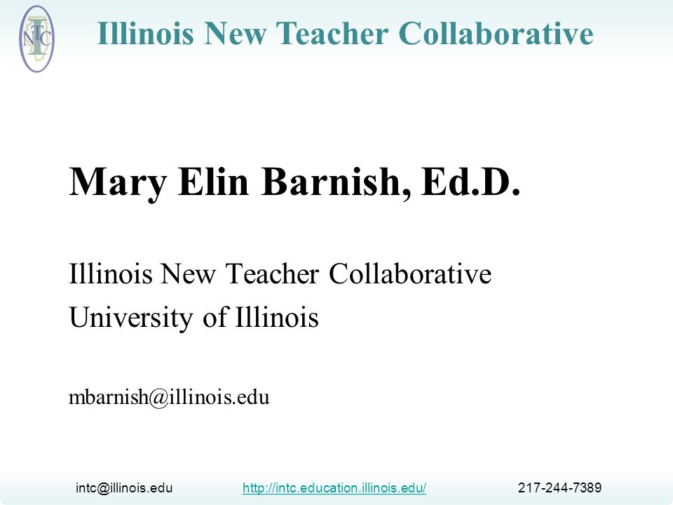 Mary Elin Barnish, Ed.D. Illinois New Teacher Collaborative