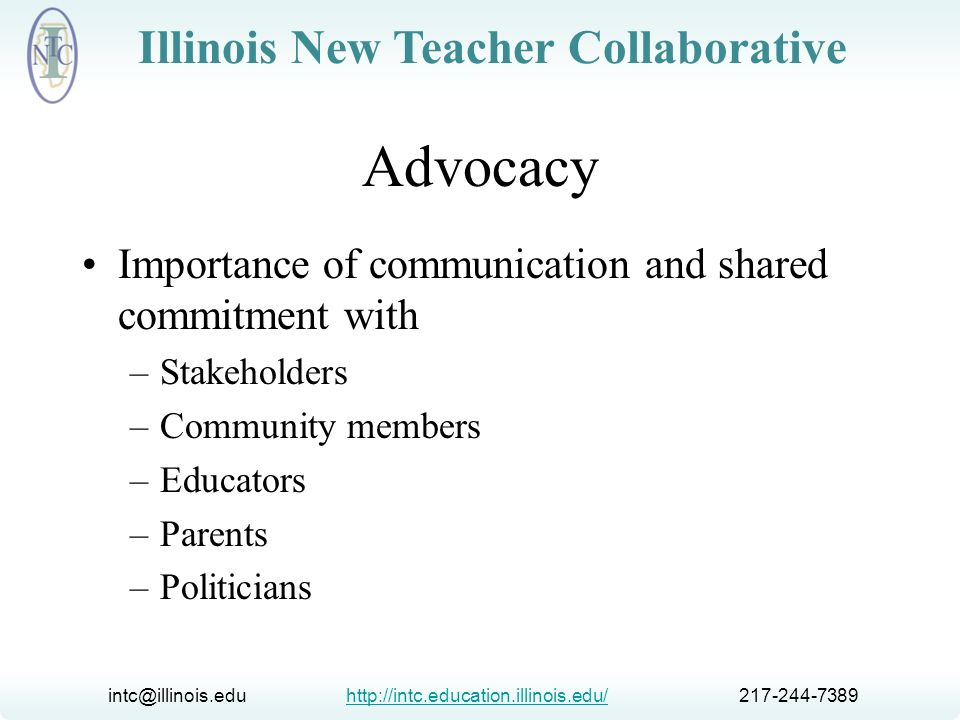 Advocacy Importance of communication and shared commitment with