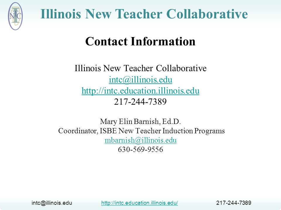 Contact Information Illinois New Teacher Collaborative.