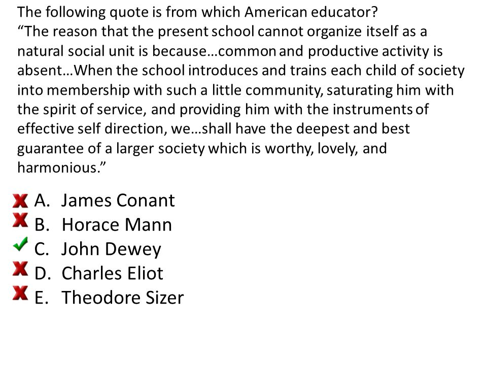 James Conant Horace Mann John Dewey Charles Eliot Theodore Sizer