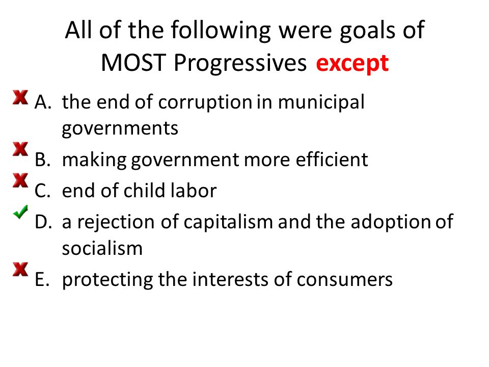 All of the following were goals of MOST Progressives except