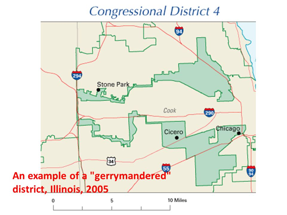 An example of a gerrymandered district, Illinois, 2005
