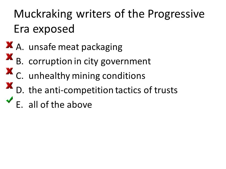 Muckraking writers of the Progressive Era exposed