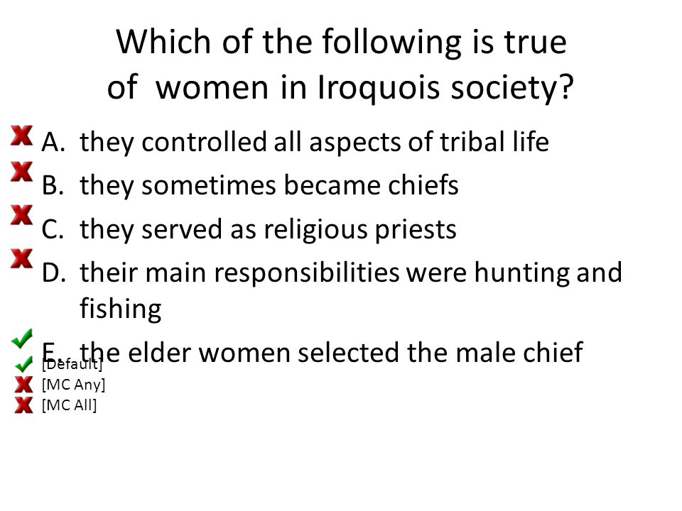 Which of the following is true of women in Iroquois society