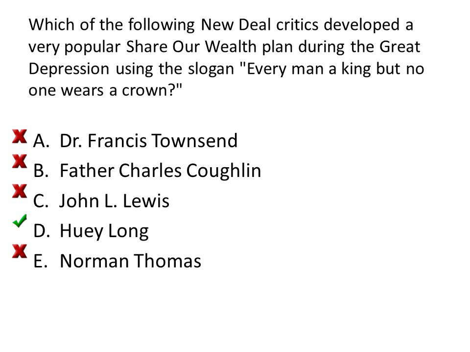 Father Charles Coughlin John L. Lewis Huey Long Norman Thomas