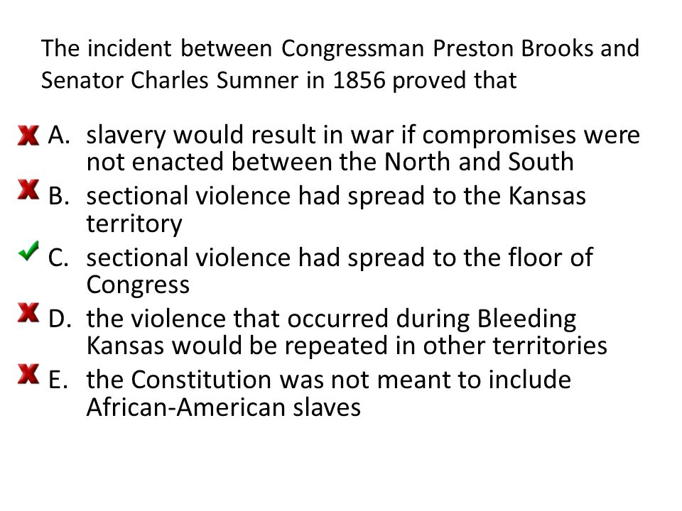 sectional violence had spread to the Kansas territory