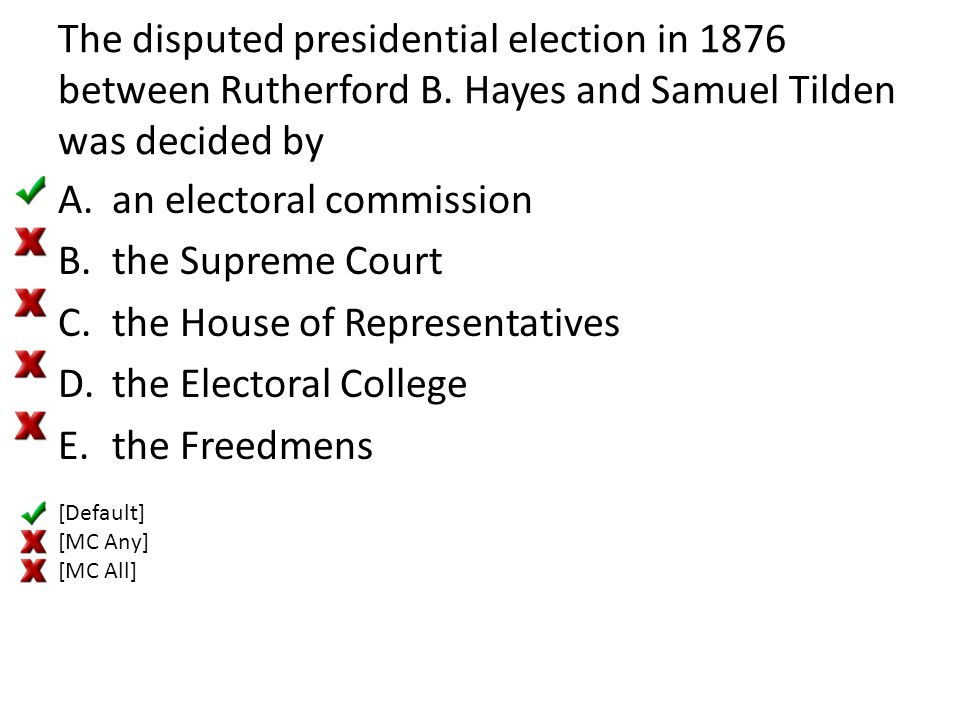 an electoral commission the Supreme Court the House of Representatives
