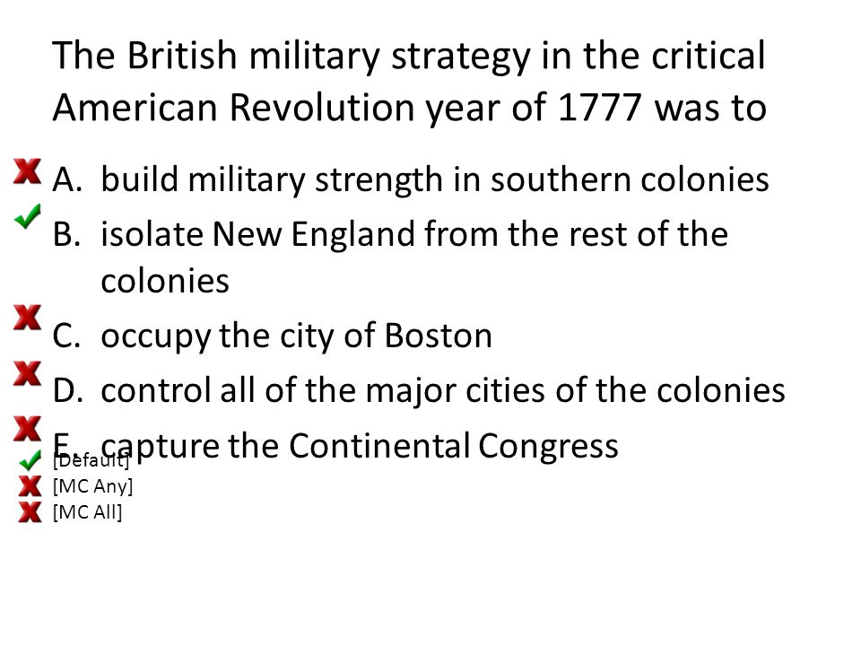 The British military strategy in the critical American Revolution year of 1777 was to