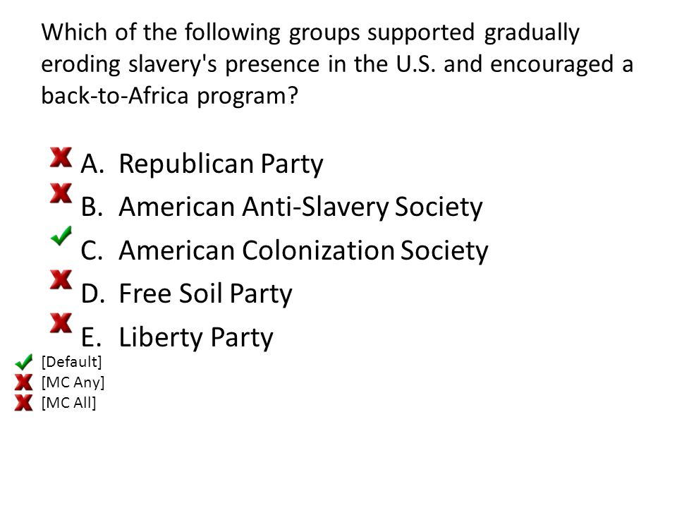 American Anti-Slavery Society American Colonization Society
