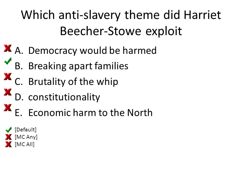 Which anti-slavery theme did Harriet Beecher-Stowe exploit