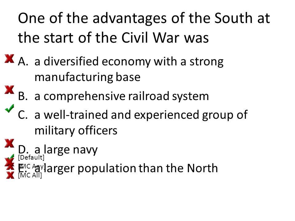 One of the advantages of the South at the start of the Civil War was