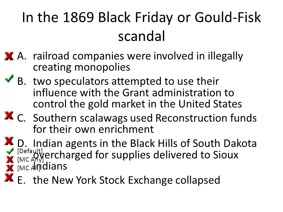 In the 1869 Black Friday or Gould-Fisk scandal