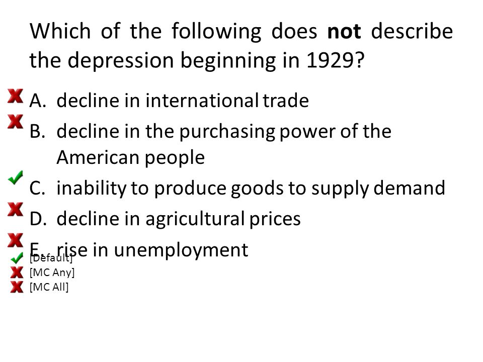 Which of the following does not describe the depression beginning in 1929