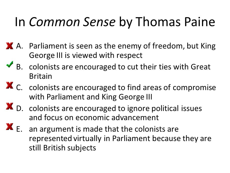 In Common Sense by Thomas Paine