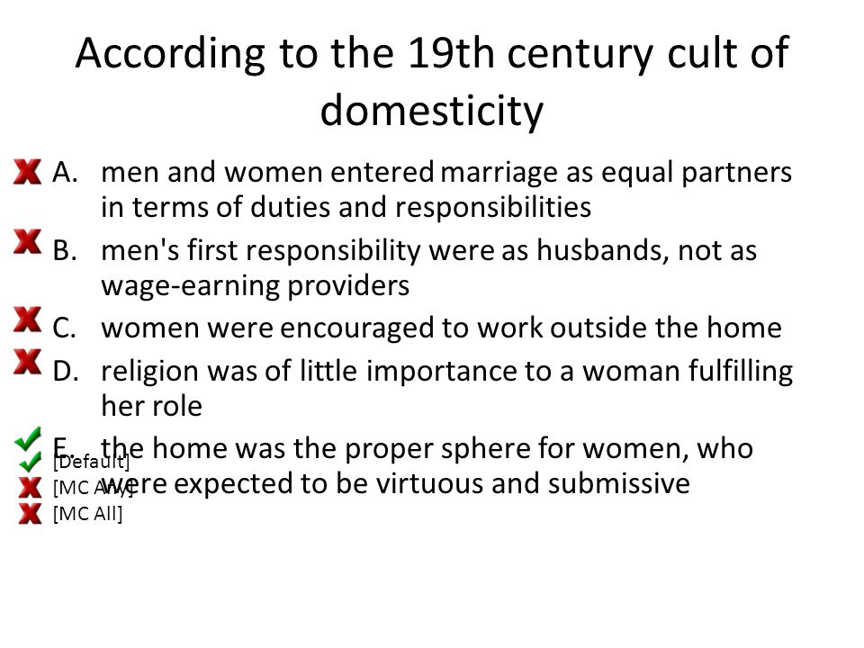 According to the 19th century cult of domesticity