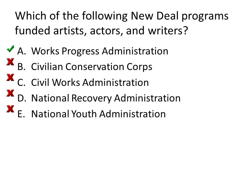 Which of the following New Deal programs funded artists, actors, and writers