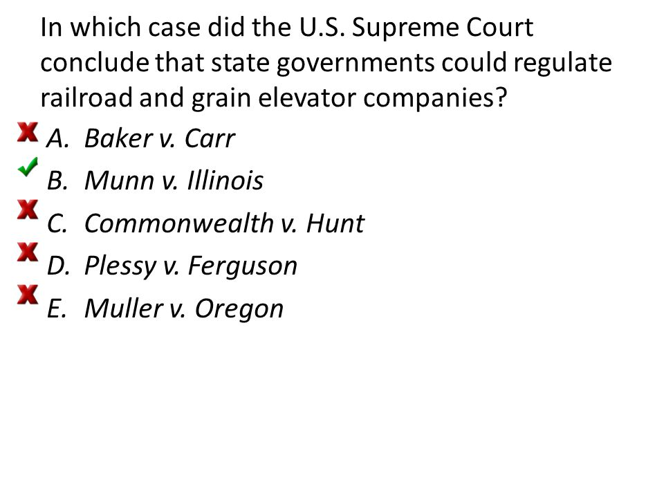 In which case did the U.S. Supreme Court conclude that state governments could regulate railroad and grain elevator companies