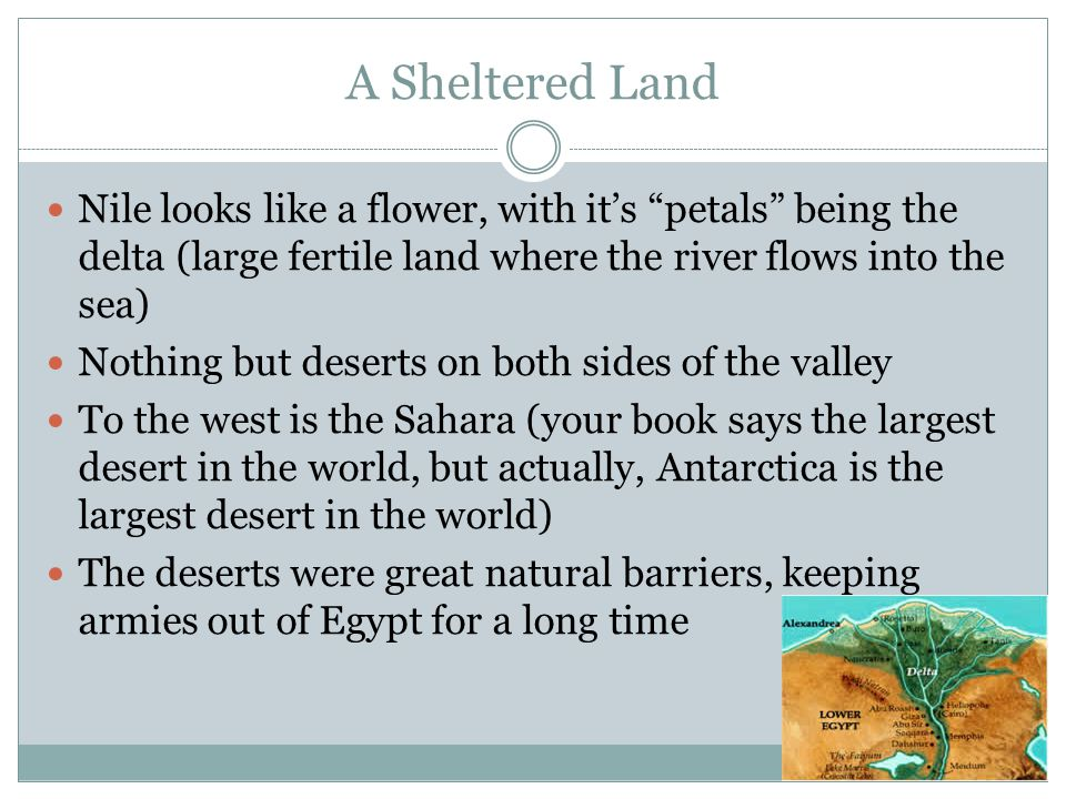 A Sheltered Land Nile looks like a flower, with it's petals being the delta (large fertile land where the river flows into the sea)