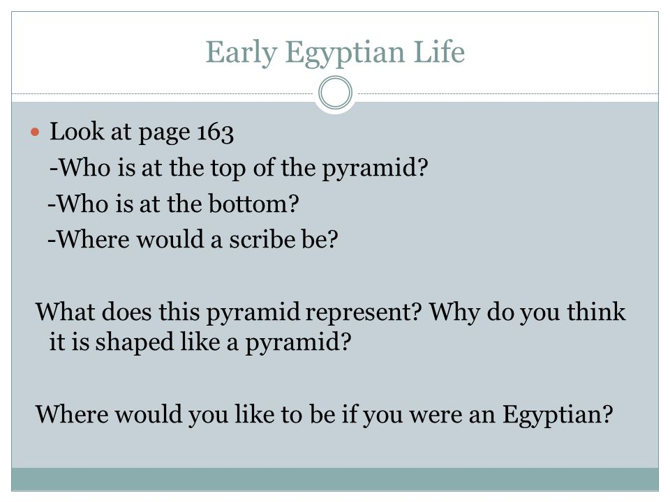 Early Egyptian Life Look at page 163