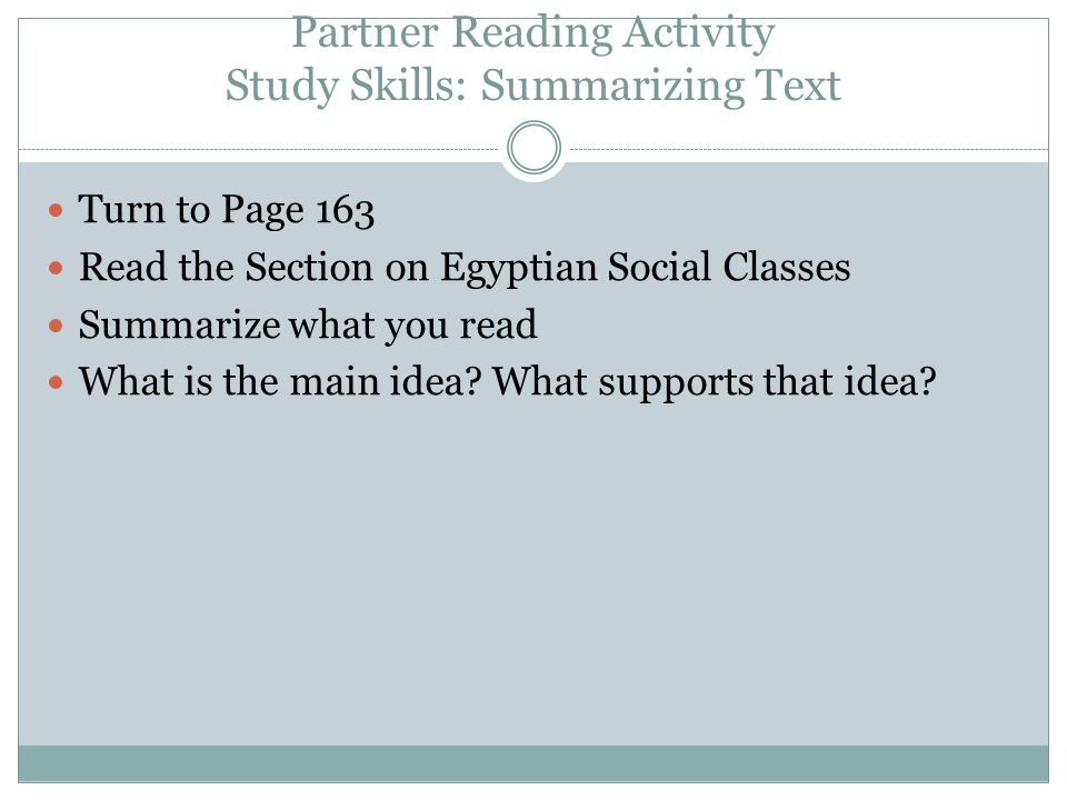 Partner Reading Activity Study Skills: Summarizing Text