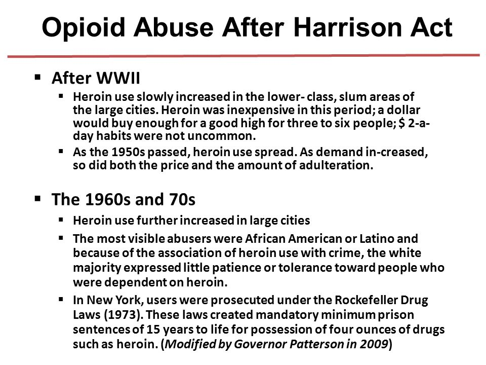 Opioid Abuse After Harrison Act