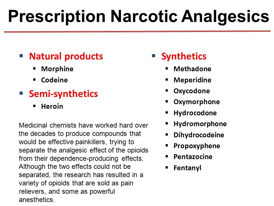 Prescription Narcotic Analgesics