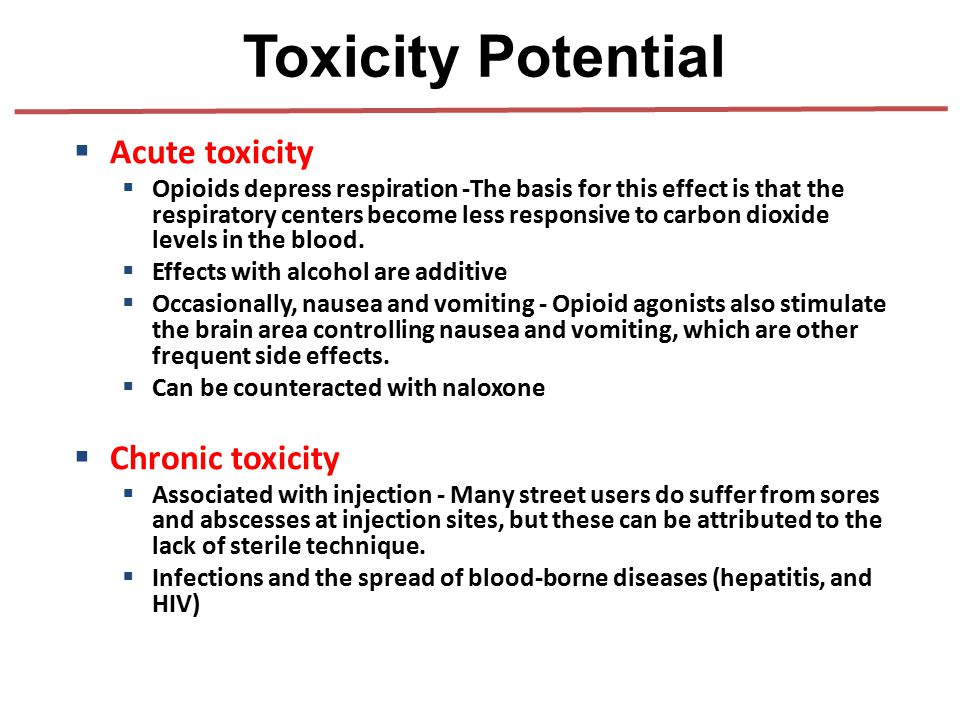 Toxicity Potential Acute toxicity Chronic toxicity