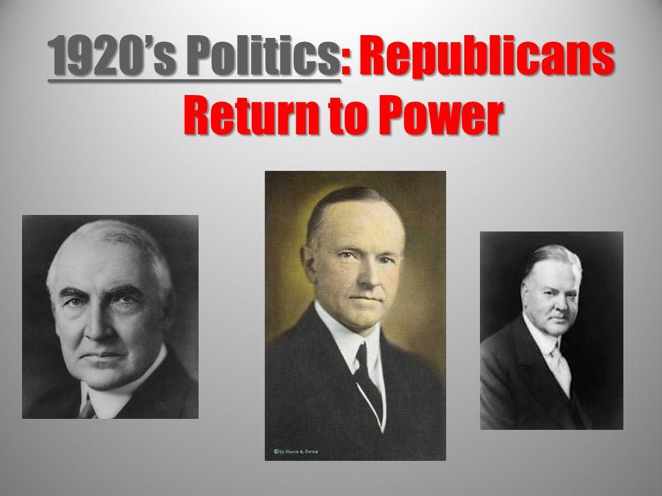 1920's Politics: Republicans Return to Power