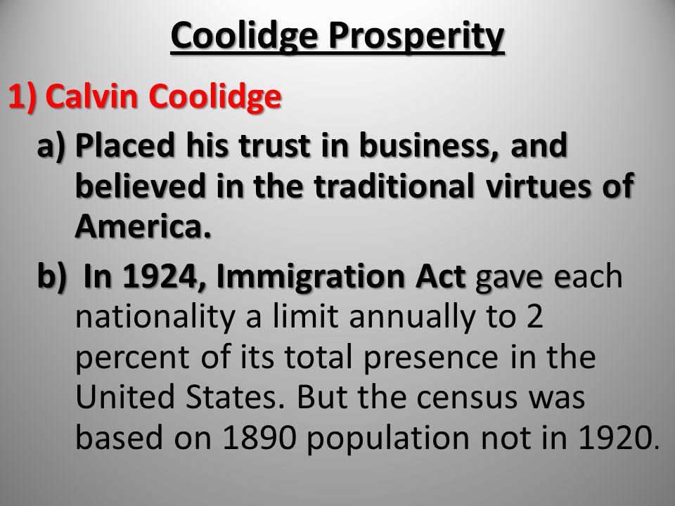 Coolidge Prosperity Calvin Coolidge