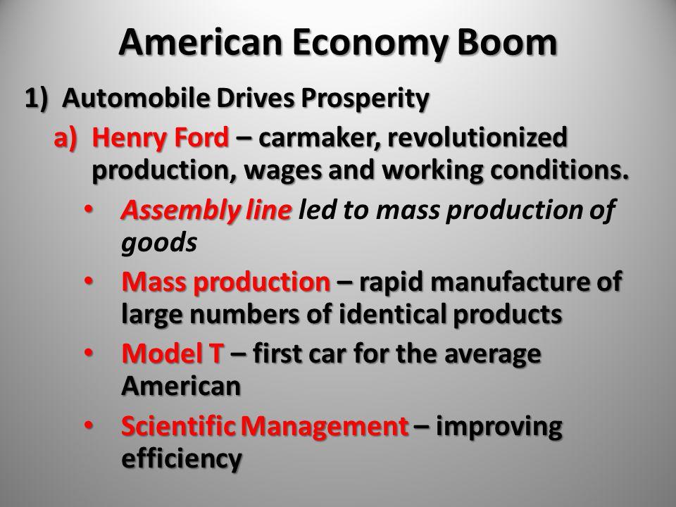 American Economy Boom Automobile Drives Prosperity