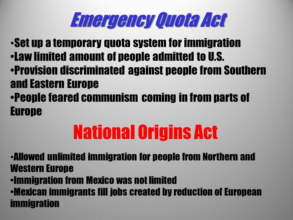 Emergency Quota Act National Origins Act