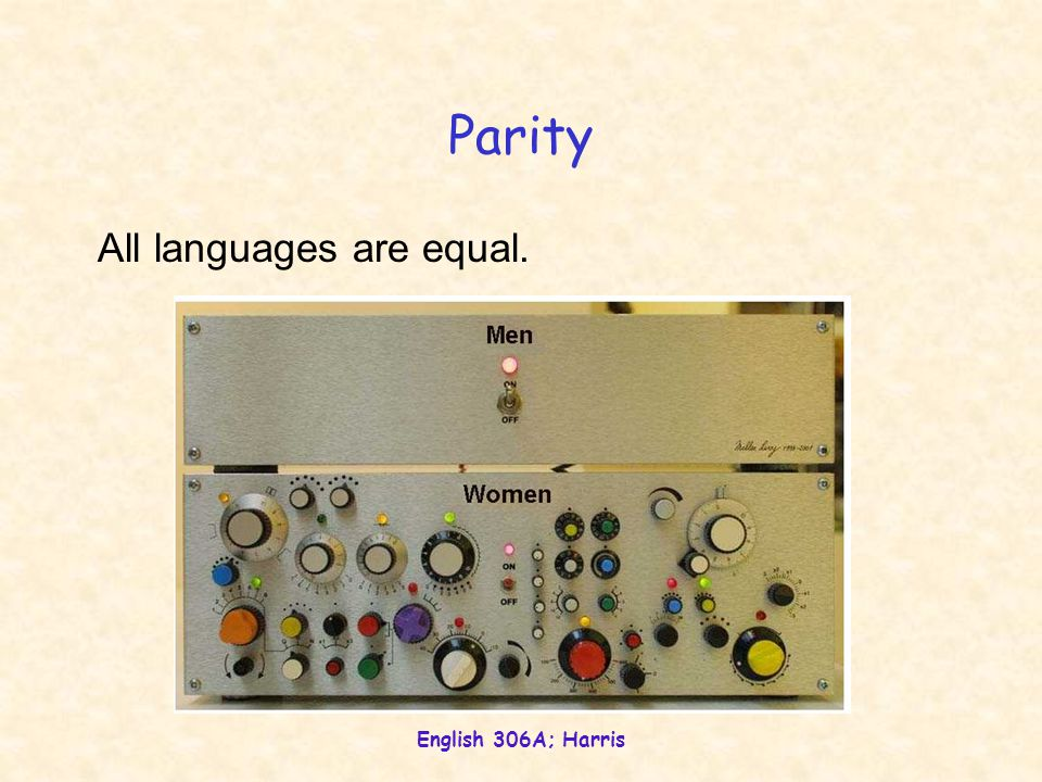 Parity All languages are equal. English 306A; Harris