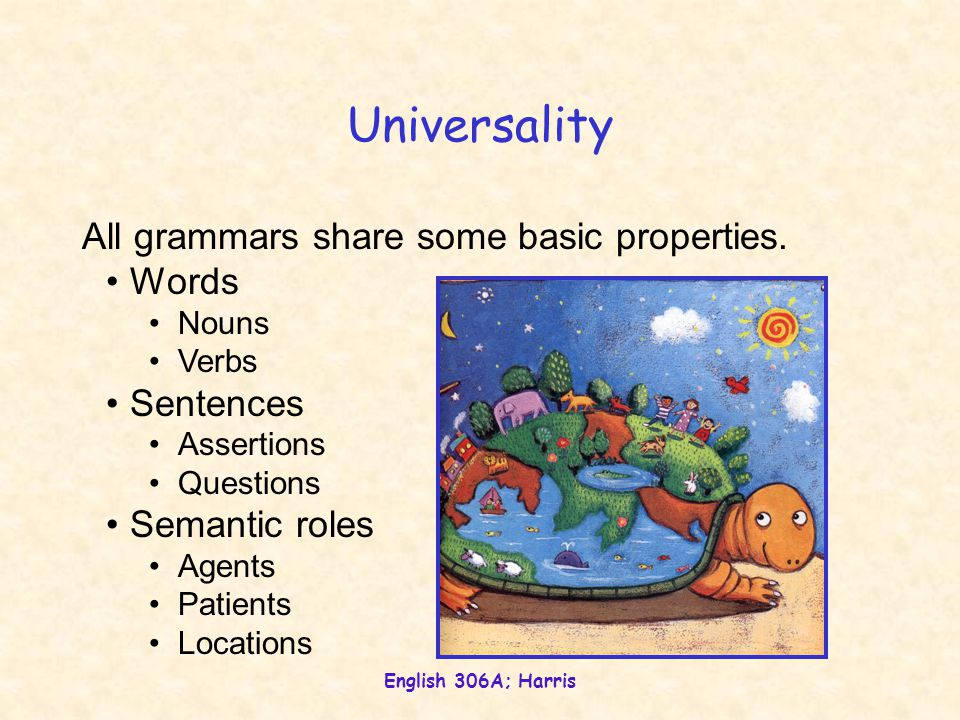 Universality All grammars share some basic properties. Words Sentences