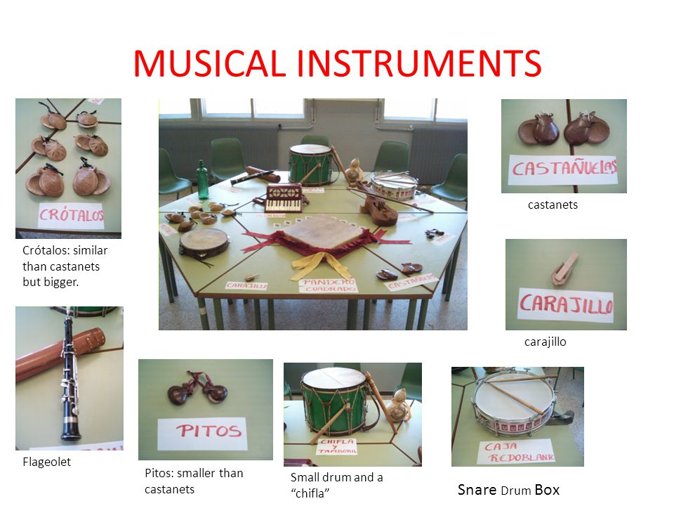 MUSICAL INSTRUMENTS Snare Drum Box castanets