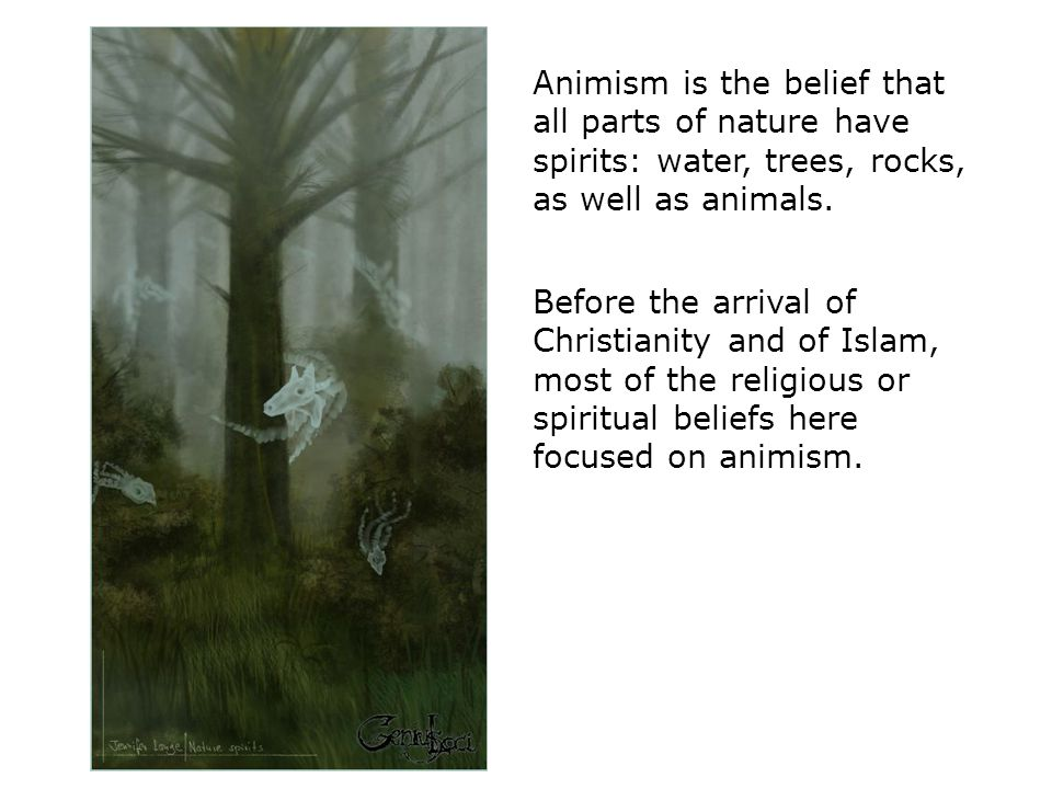 Animism is the belief that all parts of nature have spirits: water, trees, rocks, as well as animals.