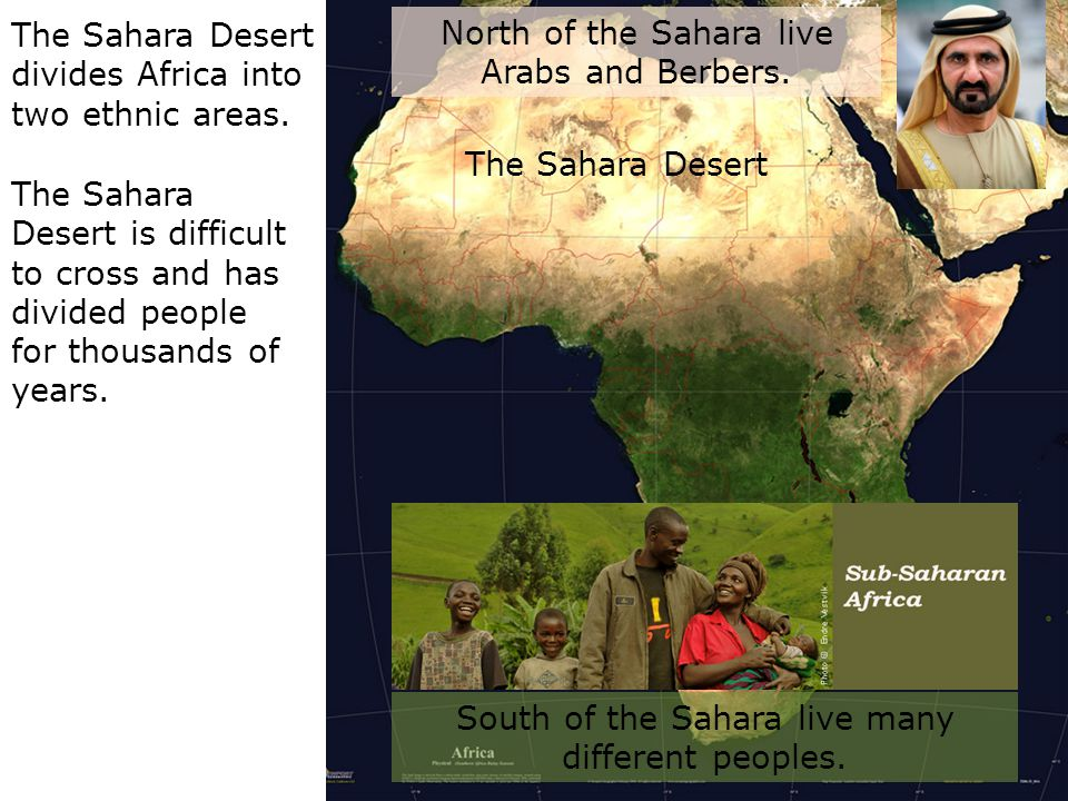 The Sahara Desert divides Africa into two ethnic areas.