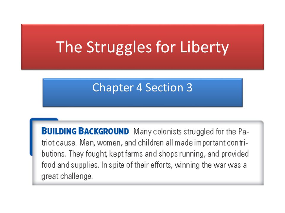 The Struggles for Liberty