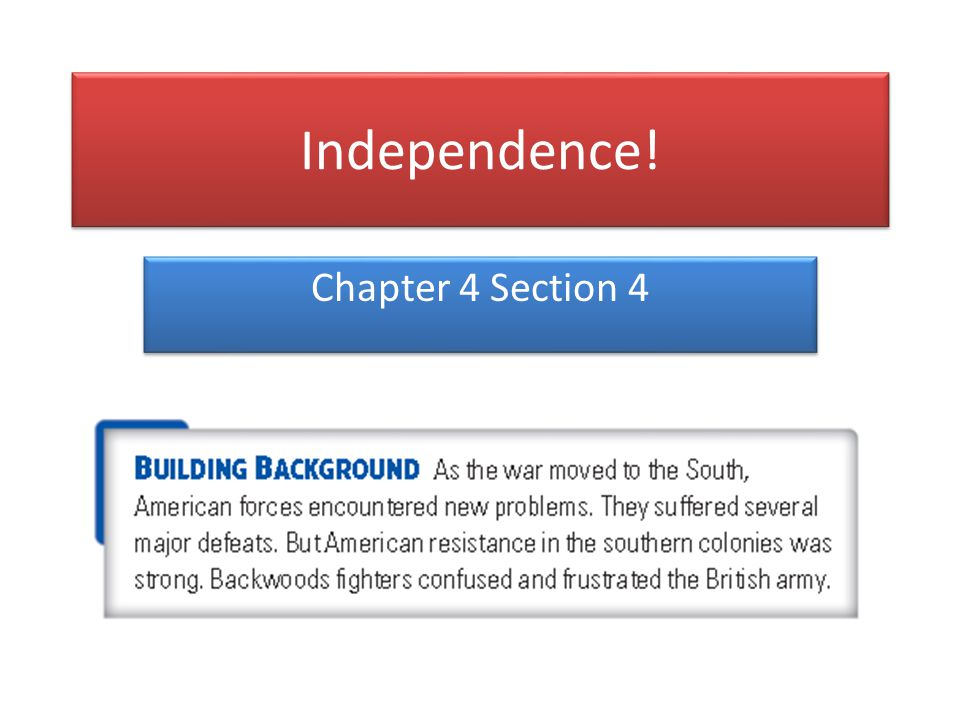 Independence! Chapter 4 Section 4