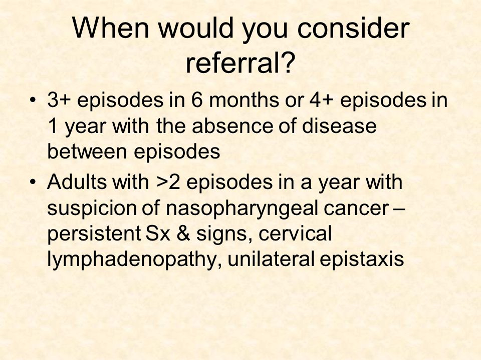 When would you consider referral