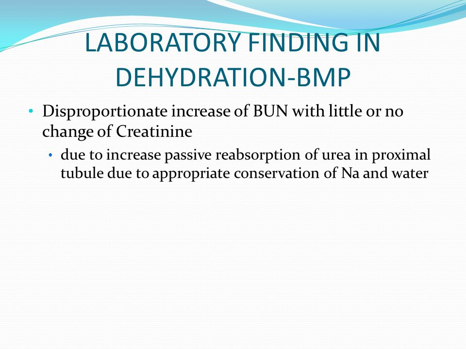 LABORATORY FINDING IN DEHYDRATION-BMP