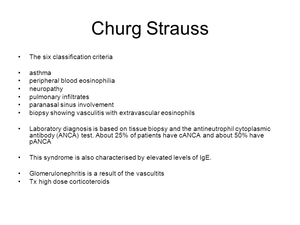 Churg Strauss The six classification criteria asthma