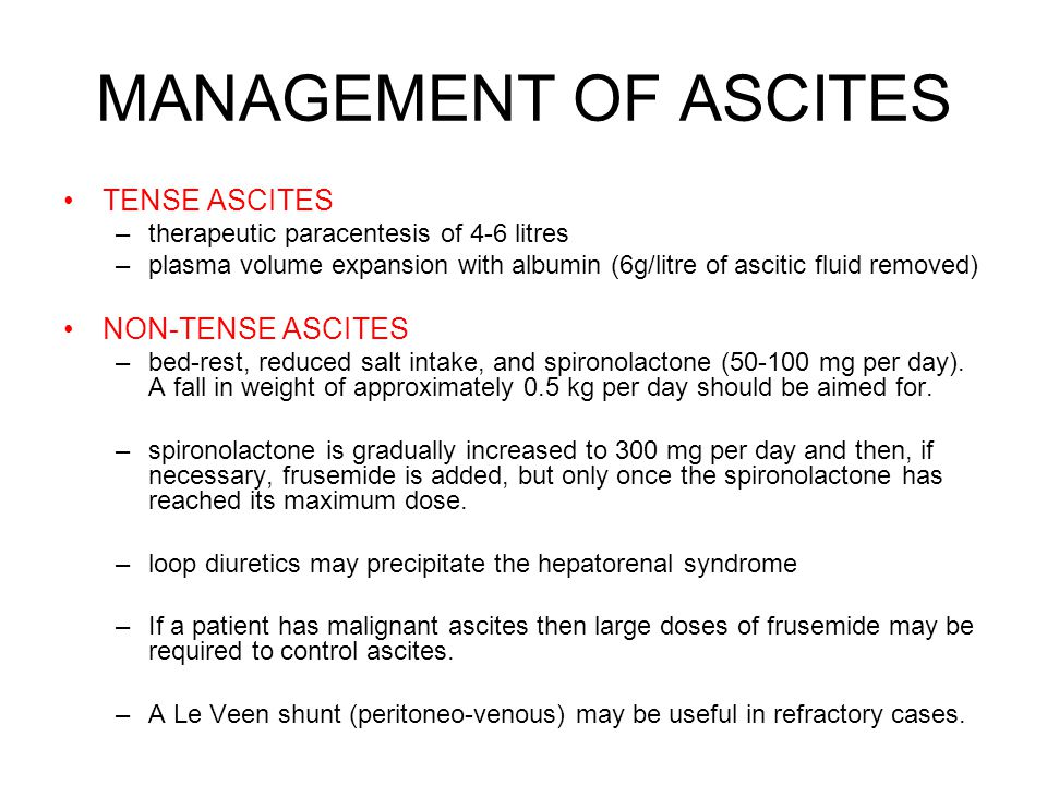 MANAGEMENT OF ASCITES TENSE ASCITES NON-TENSE ASCITES