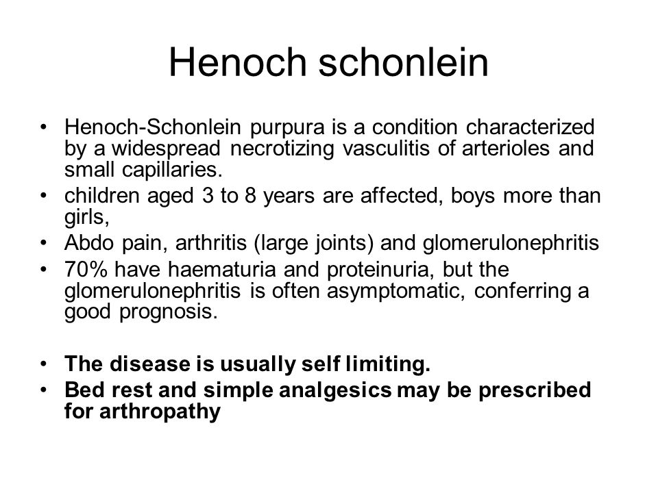 Henoch schonlein Henoch-Schonlein purpura is a condition characterized by a widespread necrotizing vasculitis of arterioles and small capillaries.