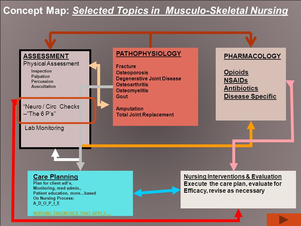 Concept Map: Selected Topics in Musculo-Skeletal Nursing