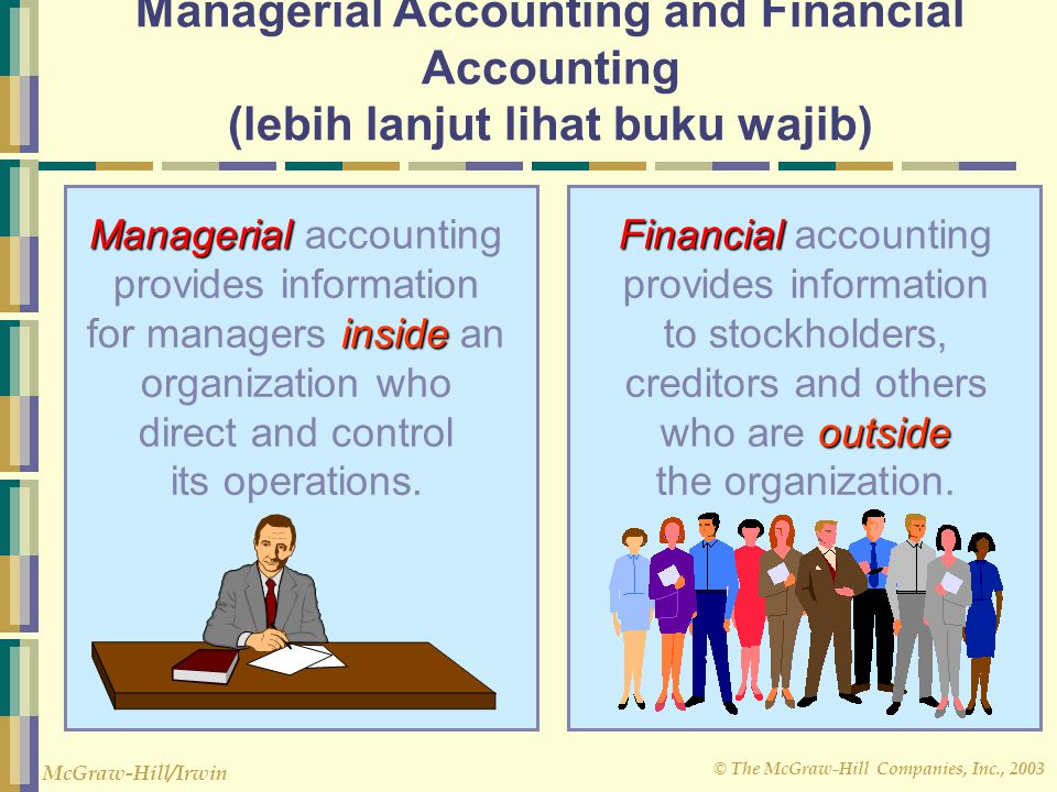Managerial Accounting and Financial Accounting (lebih lanjut lihat buku wajib)
