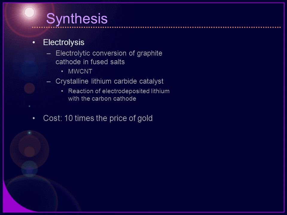 Synthesis Electrolysis Cost: 10 times the price of gold
